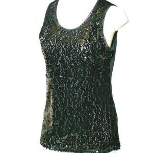 Berek Women's Black Sleeveless Sequined Top